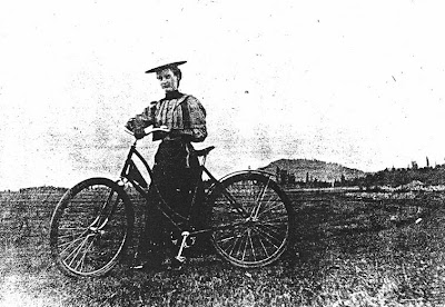 portrait of Ethel Starr Mack, lady cyclist in Benton County Oregon 1897