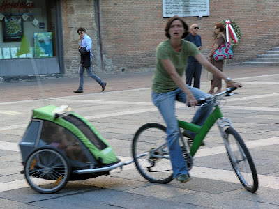 green bike, trailer, and outfit