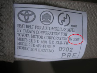 Toyota Alphard Seat Belt Label