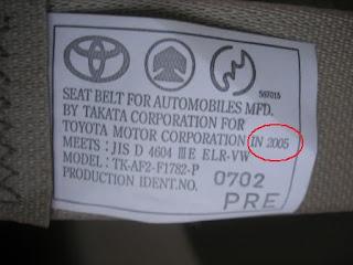 Toyota Alphard Seat Belt Label