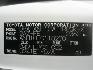 Toyota Alphard Chassis Number