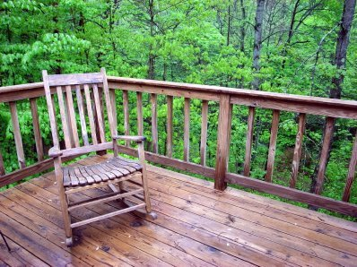 The deck at the back of the cabin...