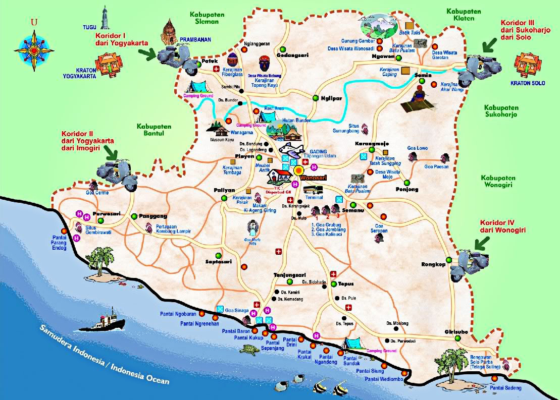 Peta Wisata (Pantai) di Gunungkidul, Yogyakarta ~ wahidhasan