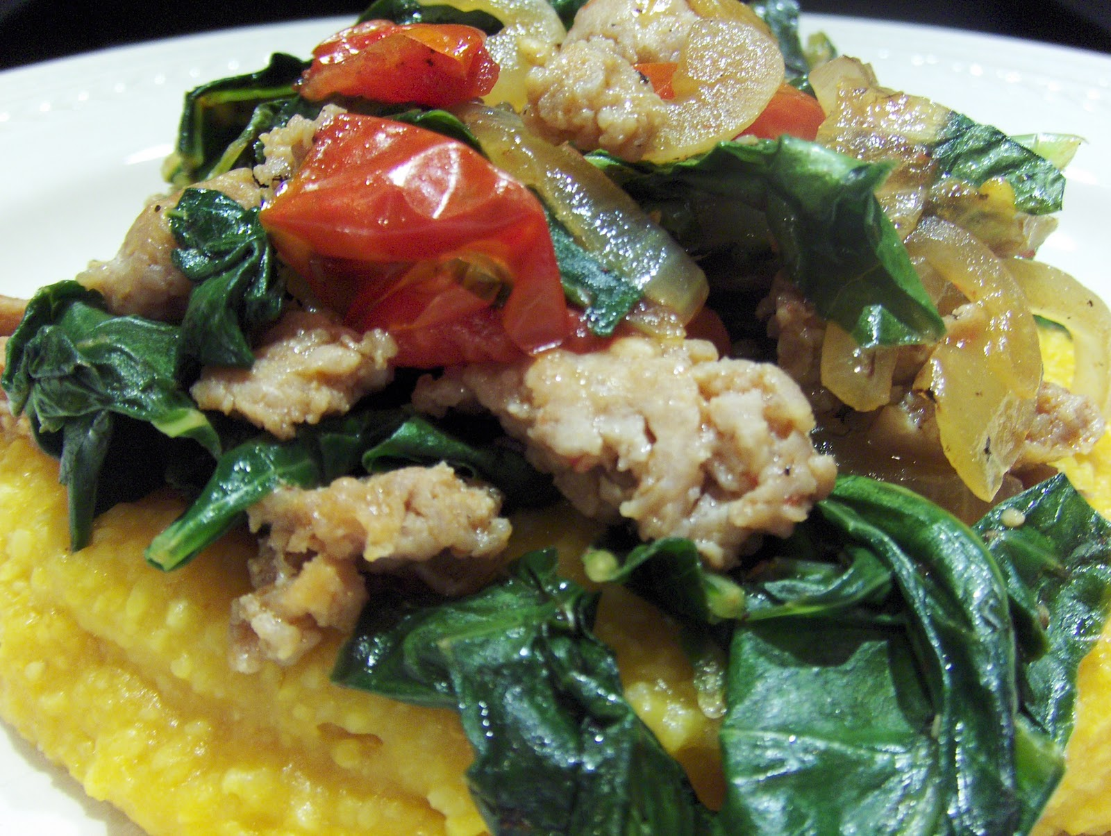Chicken on the green pumpkin polenta with turkey sausage for Creamy polenta with mushrooms and collards