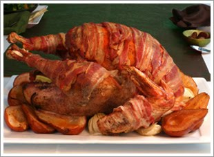 Get the recipe for Bacon-wrapped Turkey with Pear Cider Gravy at ...