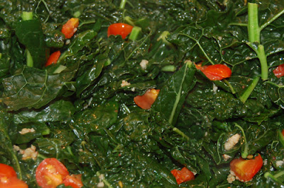 Kale with cherry tomatoes