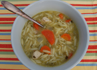 Chicken veggie soup with orzo