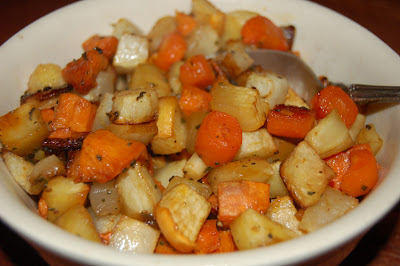 Roasted root veggies with maple sage glaze
