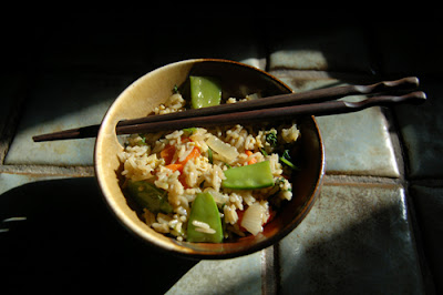 A bowl of my delicious second attempt at vegetable fried rice.