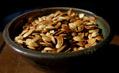 Our bowl of pumpkin seeds.