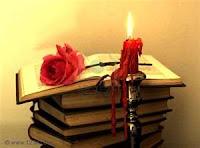 ESCAVANDO MIS PENSAMIENTOS Libros+y+vela+roja