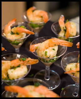 tequila marinated shrimp in a mini martini glass