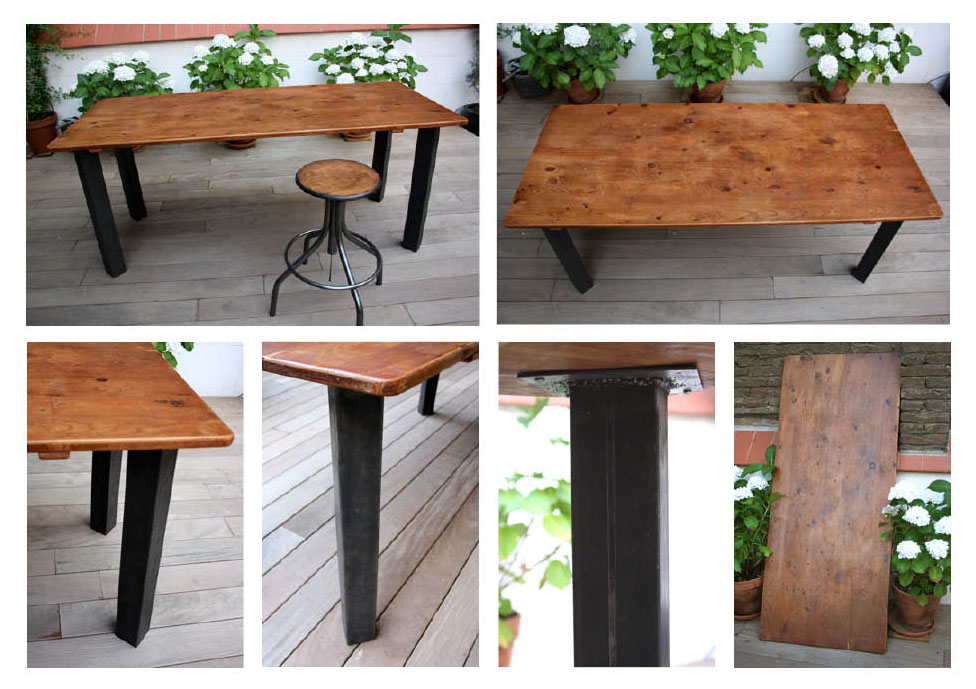 Antic beauty mesa estilo industrial de madera y hierro - Como hacer una mesa estilo industrial ...