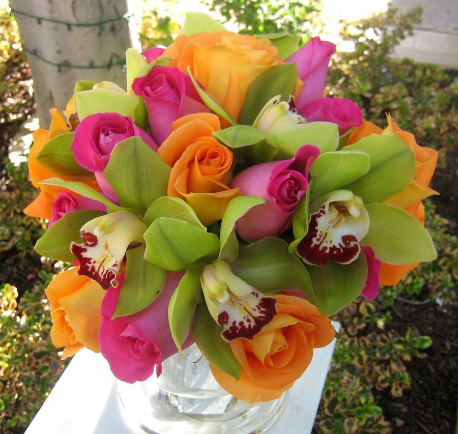 Hot Pink Orange Roses With Green Cymbidium Orchids