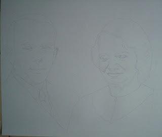 Pas à Pas Double portrait, étape 1