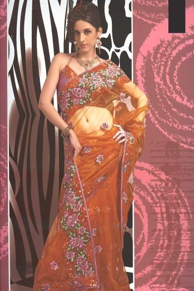 Burnt Orange Party Wear Net Saree