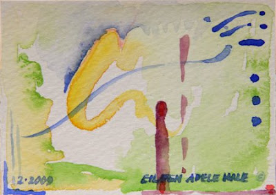 Haiku Sky, miniature watercolor, yellow-gold sweep with blue swoops and spray crossing