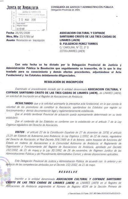 LEGALIZACION DE LAS TRES CAIDAS