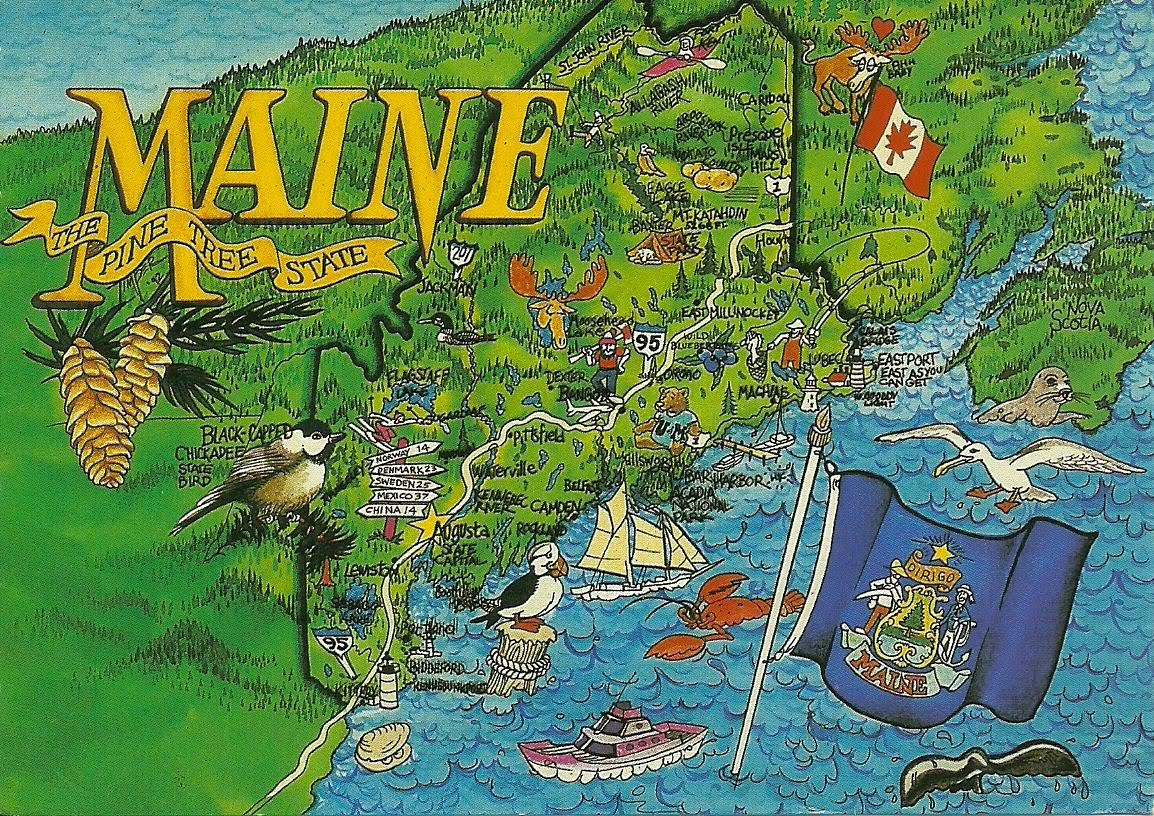 Projek Satu Dunia e World Project ™ USA Maine Mapcard