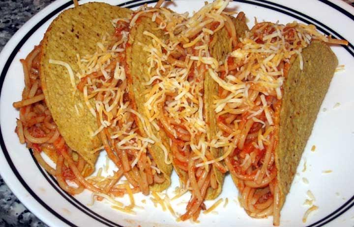 how to make spaghetti tacos