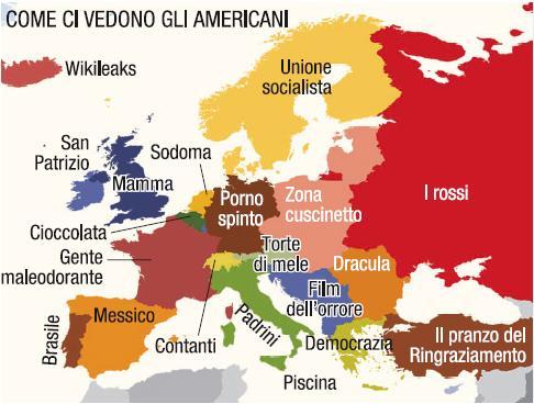 una cartina dell'europa con lo stereotipo di ogni stato