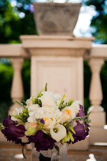 purple+and+ivory+bouquet Real Wedding Denver - Grant Humphrey's Mansion