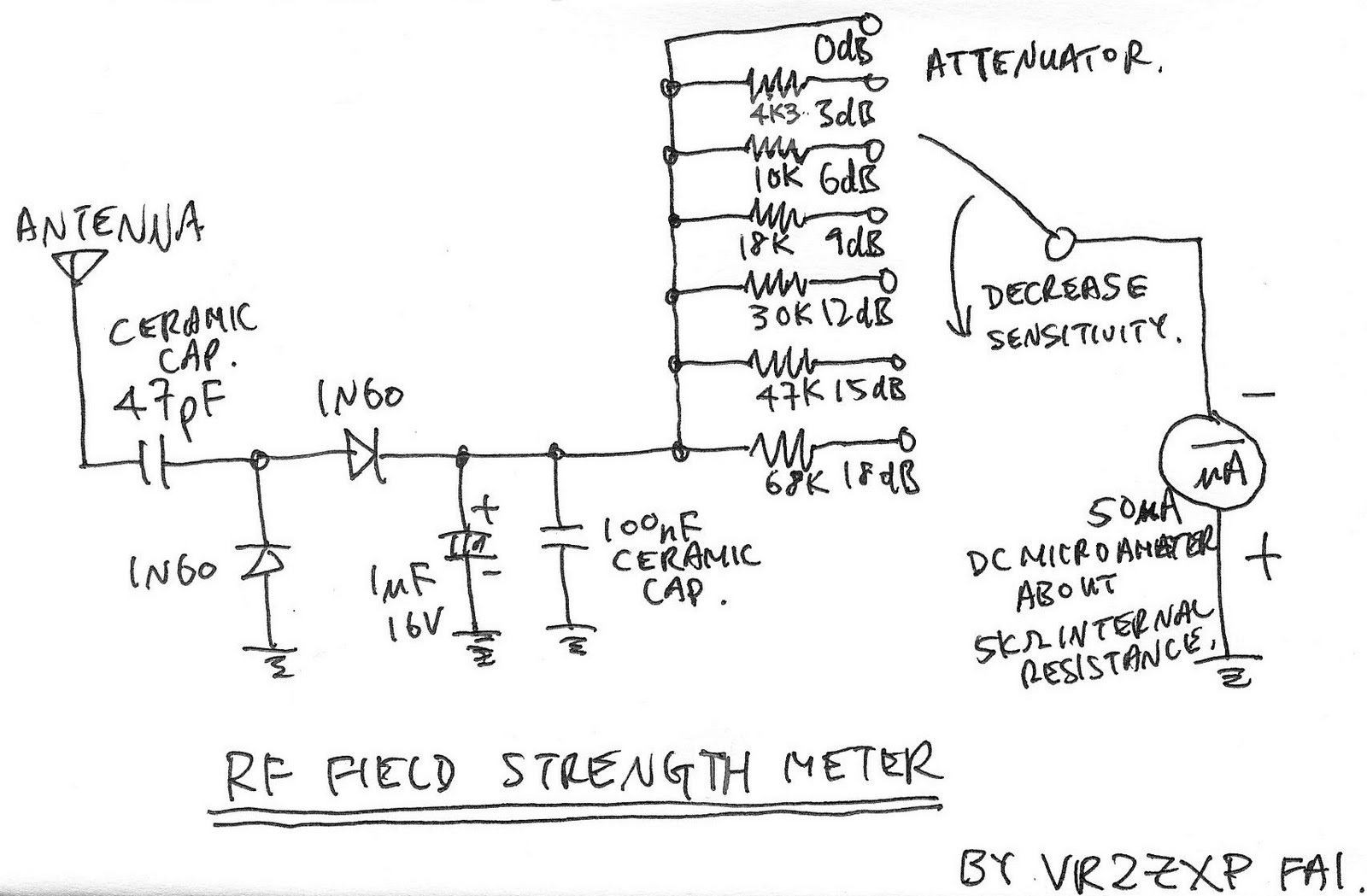 Rf Strength Meter : Electronic project field strenght meter with attenuator