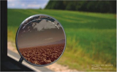 Objects in the mirror are closer than they appear-Save Trees