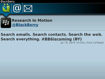 RIM Hypes BlackBerry 6 on Twitter