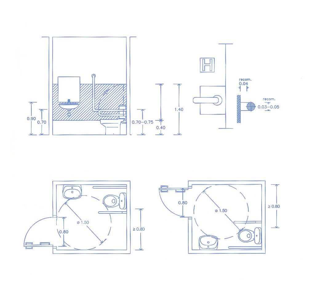 Requisitos Baño Adaptado:Las puertas tienen que tener una anchura mínima de 0,80 m i se tienen