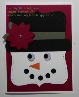 card shaped like a snowman's face