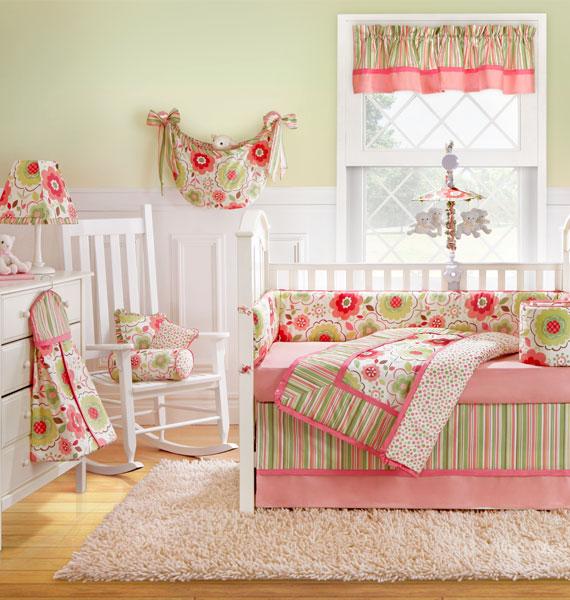 Nursery Notations: Pink & Green Nursery Bedding