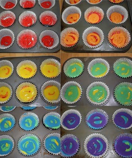 Gourmet Mom on-the-Go: Double Rainbow Cupcakes