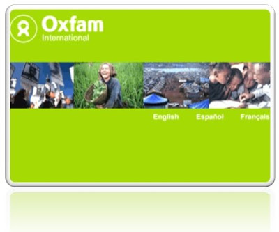 Image of Oxfam Home Page