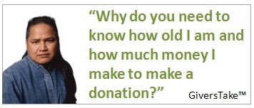 Givers Take Image, Why do you need to know how old I am and how much money I make to make a donation?