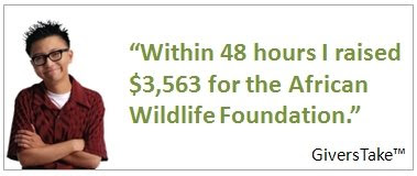 GiversTake Image, Within 48 hours I raised $3,563 for the African Wildlife Foundation.
