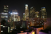 Downtown Los Angeles by night. It's time to leave once again.