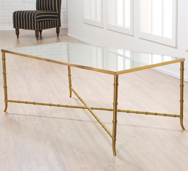 glass coffee table with gold legs 2