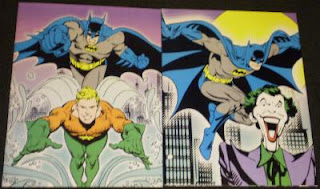 DC Comics portfolios featuring Batman, Joker and Aquaman