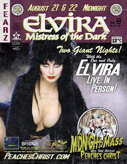 Elvira appearing at Midnight Mass with Peaches Christ on August 21 and 22