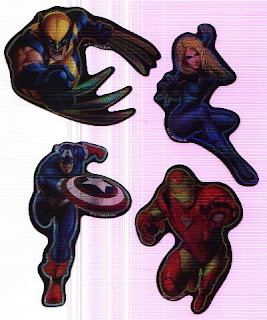 front side of four Marvel Heroes Stickers Series 2