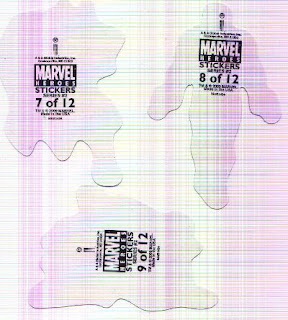 back of Marvel Heroes Stickers Series 2 featuring Thor, Punisher and Gambit