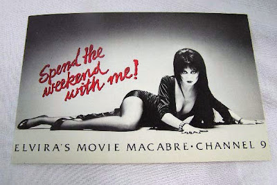 close up of Elvira Official Fan Club postcard