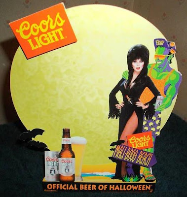 Coors Light Maliboo Beach table tent featuring Elvira