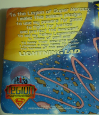 back cover of McDonald's Lightning Lad toy box