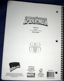 Back cover of Spider-Man Spider Sense notebook