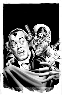 Black and white Deadpool #28 cover artwork by Mike Meyhew