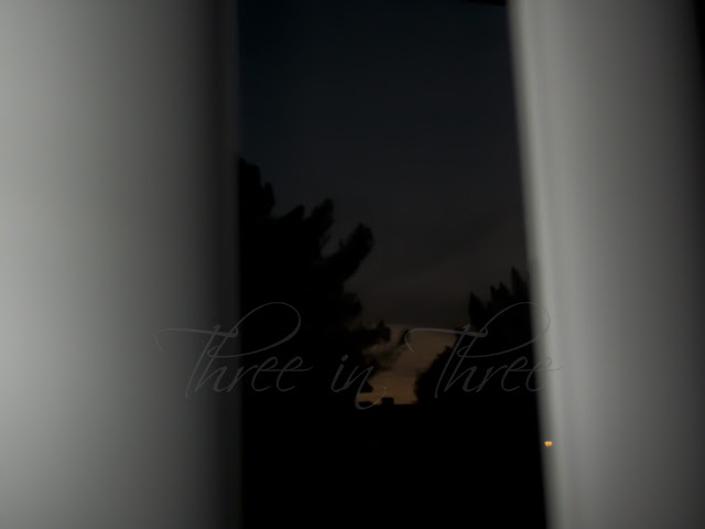 Looking outside at dusk