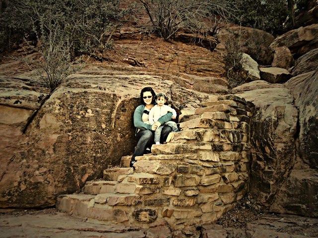 Afton and I on the rock stairs