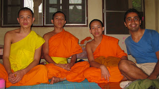 Khamdy monk, left, and the two novices with whom I spent 2 hours chatting